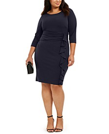Plus Size Ruched-Waist Side-Ruffled Dress