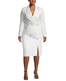 Tahari ASL Plus Size Asymmetrical Belted Skirt Suit