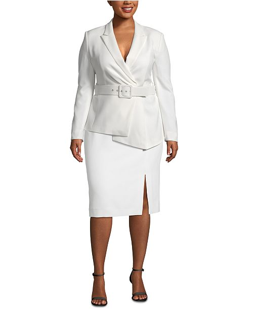 Plus Size Asymmetrical Belted Skirt Suit
