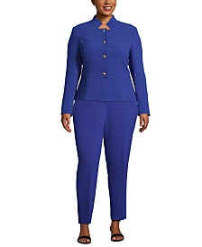 Tahari ASL Plus Size Star-Neck Pants Suit