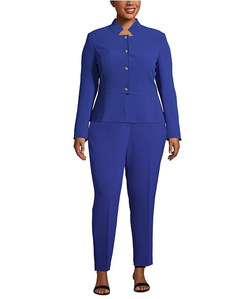 Tahari ASL Plus Size Star-Neck Pants Suit & Reviews - Wear ...