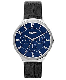 Men's Grenen Black Leather Strap Watch 42mm