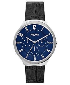 Skagen Men's Grenen Black Leather Strap Watch 42mm