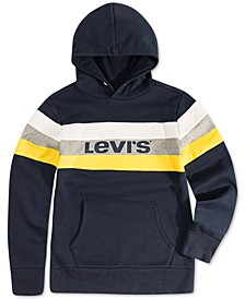 Big Boys Colorblocked Stripe Fleece Logo Hoodie