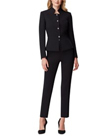 Tahari ASL Star-Neck Pants Suit