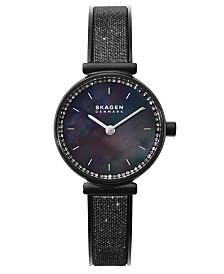 Skagen Women's Annelie Black Stainless Steel Mesh Bangle Bracelet Watch 25mm