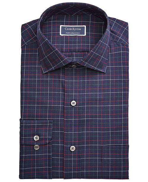 Club Room Men's Classic/Regular Fit Stretch Twill Multi Tattersall Dress Shirt, Created for Macy's