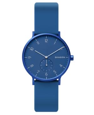 Skagen Watches UNISEX AAREN KULOR BLUE SILICONE STRAP WATCH 36MM