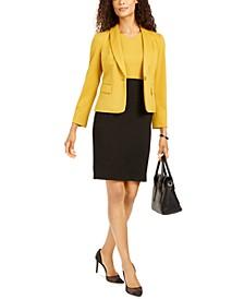 Shawl-Collar Ponte-Knit Jacket & Colorblocked Sheath Dress