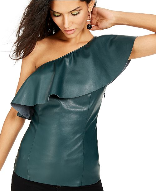 INC International Concepts I.N.C. Faux-Leather One-Shoulder Top, Created For Macy's