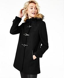 Petite Faux-Fur-Trim Hooded Walker Coat