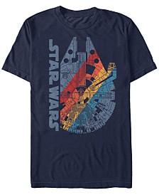Star Wars Men's Classic Rainbow Millennium Falcon Logo Short Sleeve T-Shirt