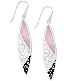 Genuine Swarovski Marcasite Pink Shell Filigree Drop Earrings in Fine Silver-Plate