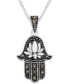 """Genuine Swarovski Marcasite Hamsa Hand 18"""" Pendant Necklace in Fine Silver-Plate"""