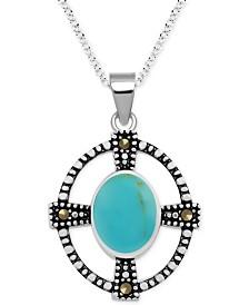 "Genuine Swarovski Marcasite & Onyx Cross Oval 18"" Pendant Necklace in Fine Silver-Plate"