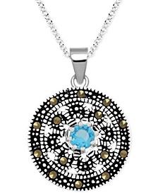 """Genuine Swarovski Marcasite & Aqua Floral 18"""" Pendant Necklace in Fine Silver-Plate"""