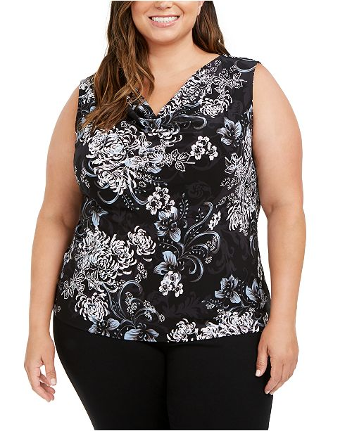 Nine West Plus Size Floral Top