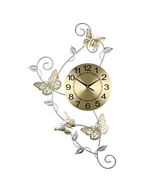 Butterflies and Leaves Wall Clock