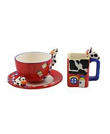 3 Piece Cow Style Mugs with Plates