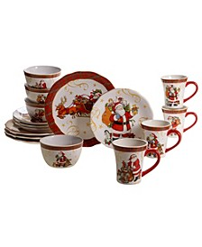 Vintage Santa 16pc Dinnerware Set