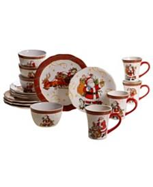 Certified International Vintage Santa 16pc Dinnerware Set