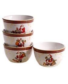 Certified International Vintage Santa 4-Pc. Ice Cream Bowl