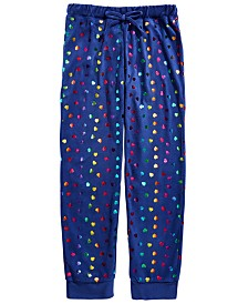Max & Olivia Little & Big Girls Foil Heart-Print Velour Jogger Sleep Pants, Created for Macy's