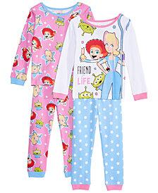 AME Toddler Girls 4-Pc. Cotton Toy Story Pajamas Set