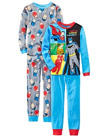AME Little & Big Boys 4-Pc. Cotton Justice League Pajamas Set