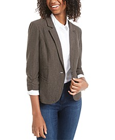 Juniors' Ruched-Sleeve Tweed Jacket