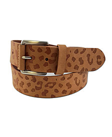 Fashion Focus Accessories Leopard-Print Embossed Casual Leather Belt