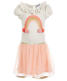 Blueberi Boulevard Little Girls Rainbow Pom Pom Dress