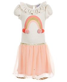 Blueberi Boulevard Little Girls Rainbow Pom Pom Dress