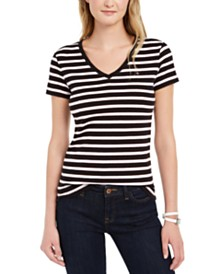 Tommy Hilfiger Striped Cotton V-Neck T-Shirt, Created for Macy's
