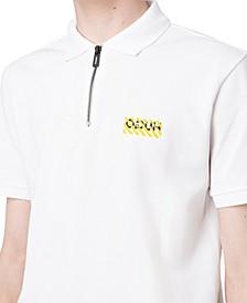 Men's Regular-Fit Stripe Logo-Print 1/4-Zip Polo Shirt