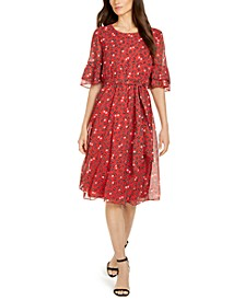 Printed Flutter-Sleeve Fit & Flare Dress