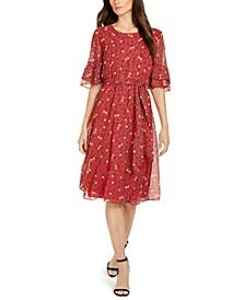 Printed Flutter-Sleeve Fit & Flare Dress