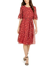 Anne Klein Printed Flutter-Sleeve Fit & Flare Dress