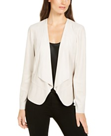 Anne Klein Faux-Suede Draped-Front Jacket