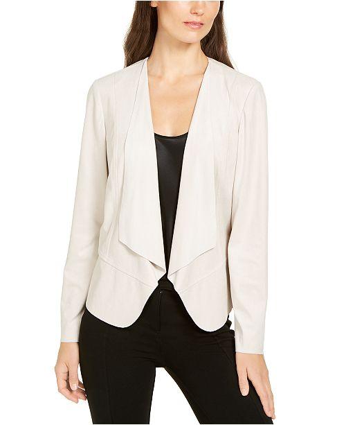 Anne Klein Faux-Suede Draped-Front Jacket