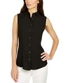 Anne Klein Sleeveless Button-Front Top