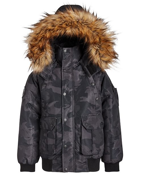 DKNY Big Boys Faux-Fur-Trim Camo-Print Hooded Bomber Jacket