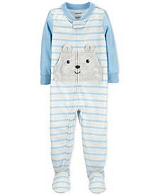 Baby Boys 1-Pc. Footed Striped Bear Pajama
