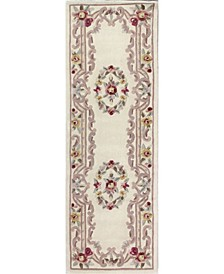 "CLOSEOUT!  Palace Garden Aubusson Cream 2'6"" x 8' Runner Area Rug"