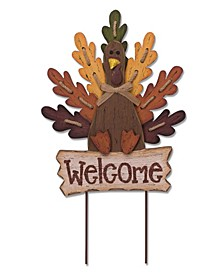 Burlap/Wooden Turkey Welcome Sign or Yard Stake