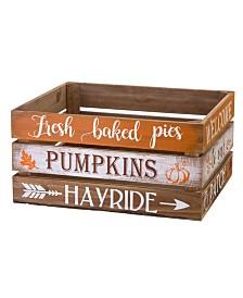 Glitzhome S/2 Wooden Pumpkin Crate