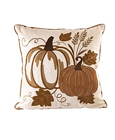 Glitzhome Cotton Embroidered Pumpkin Throw Pillow Cover