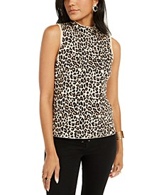 Leopard-Print Mock-Neck Sleeveless Top, Created for Macy's