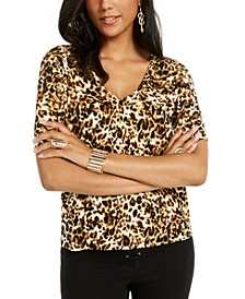 Printed Button-Sleeve V-Neck Top, Created for Macy's