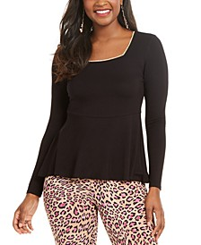 Embellished-Neck Peplum Jersey Top, Created for Macy's